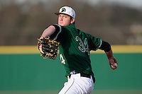 Starting pitcher Austin Goss (34) of the University of South Carolina Upstate Spartans delivers in a game against the Citadel Bulldogs on Tuesday, February, 18, 2014, at Cleveland S. Harley Park in Spartanburg, South Carolina. Upstate won, 6-2. (Tom Priddy/Four Seam Images)