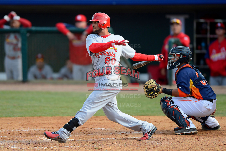St. Louis Cardinals outfielder Justin Christian #60 at bat in front of catcher Rene Garcia #69 during a Spring Training game against the Houston Astros at Osceola County Stadium on March 1, 2013 in Kissimmee, Florida.  The game ended in a tie at 8-8.  (Mike Janes/Four Seam Images)