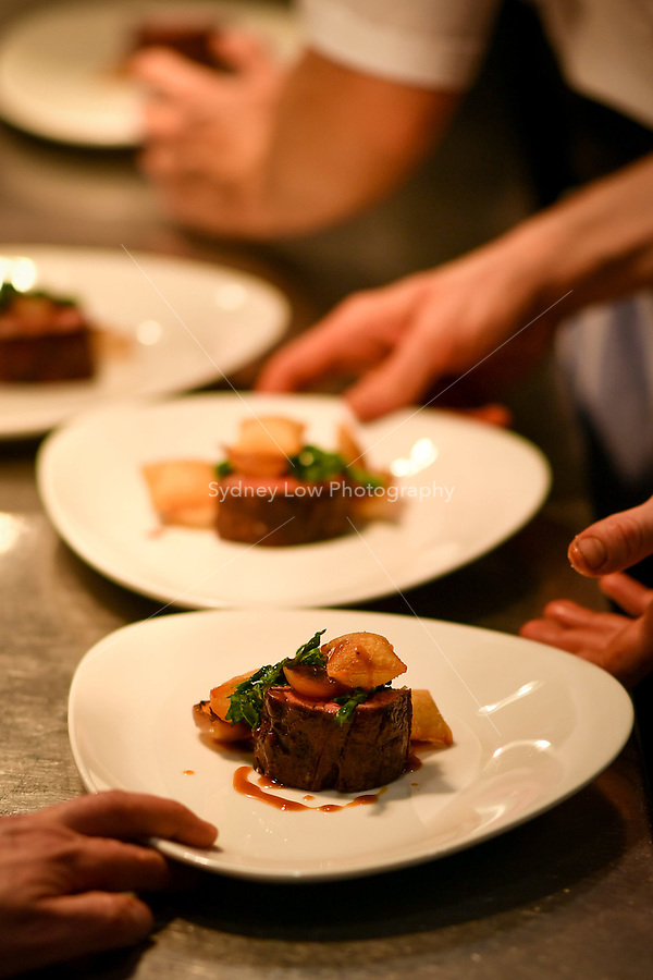 MELBOURNE, 30 June 2017 – A dish of duo of beef wagyu, pomme soufflé, cime di rapa and sauce Périgueux by Scott Pickett at a dinner celebrating Philippe Mouchel's 25 years in Australia with six chefs who worked with him in the past at Philippe Restaurant in Melbourne, Australia.