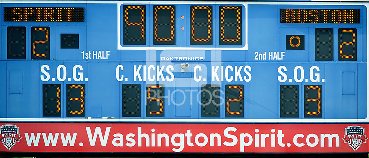 Boyds, MD - Saturday August 12, 2017: Scoreboard during a regular season National Women's Soccer League (NWSL) match between the Washington Spirit and the Boston Breakers at Maureen Hendricks Field, Maryland SoccerPlex.