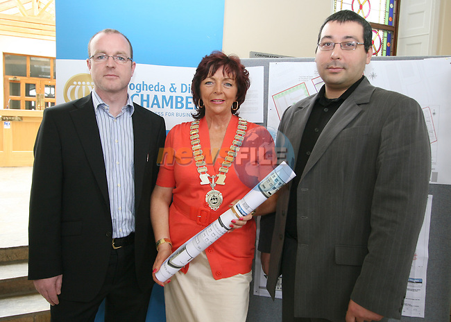 President of the Drogheda Chamber of Commerce Patricia Rooney with Brian Hughes and Adam Kolodzieg from Brady Hughes Consulting at the Launch of Drogheda Masterplan and Drogheda Enterprise Centre...Photo NEWSFILE/Jenny Matthews.(Photo credit should read Jenny Matthews/NEWSFILE)....This Picture has been sent you under the condtions enclosed by:.Newsfile Ltd..The Studio,.Millmount Abbey,.Drogheda,.Co Meath..Ireland..Tel: +353(0)41-9871240.Fax: +353(0)41-9871260.GSM: +353(0)86-2500958.email: pictures@newsfile.ie.www.newsfile.ie.FTP: 193.120.102.198.