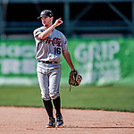 3 September 2018: Tri-City ValleyCats infielder Austin Dennis in action against the Vermont Lake Monsters at Centennial Field in Burlington, Vermont. The Lake Monsters defeated the ValleyCats 9-6 in the last game of the 2018 NY Penn League regular season. Mandatory Credit: Ed Wolfstein Photo *** RAW (NEF) Image File Available ***