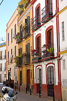 Typical street scene in Seville Spain