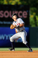 Shortstop Omar Obregon (2) of the Rome Braves tracks a pop fly in a game against the Greenville Drive on Monday, June 15, 2015, at Fluor Field at the West End in Greenville, South Carolina. Greenville won, 9-3. (Tom Priddy/Four Seam Images)