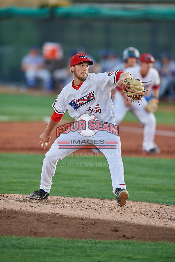 Isaac Mattson (34) of the Orem Owlz delivers a pitch to the plate against the Ogden Raptors at Home of the Owlz on September 11, 2017 in Orem, Utah. Ogden defeated Orem 7-3 to win the South Division Championship. (Stephen Smith/Four Seam Images)