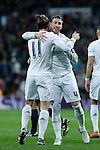 Real Madrid´s Gareth Bale celebrates a goal with Sergio Ramos during 2015/16 La Liga match between Real Madrid and Deportivo de la Coruna at Santiago Bernabeu stadium in Madrid, Spain. January 09, 2015. (ALTERPHOTOS/Victor Blanco)