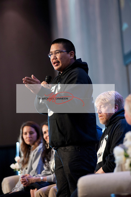 Samuel Johns, an Athabaskan from the Ahtna region, speaks about his Forget me not  social media organization at the Youth and Elders conference during Alaska Federation on Natives week Monday Oct. 12, 2015. Johns is a positive rap singer and motivational speaker who created the Forget me not Facebook group to connect homeless Alaska Natives in Anchorage with their families. Photo for the Journal by Michael Dinneen