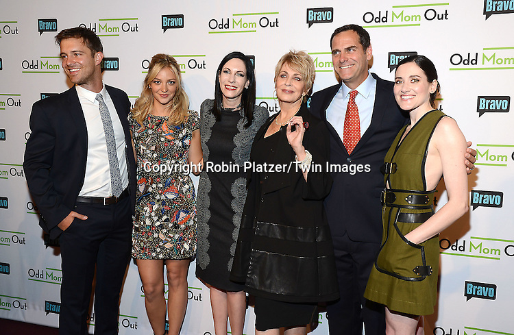 Sean Kleier, Abby Eliott, Jill Kargman, Joanna Cassidy, Andy Buckley and KK Glick attend the &quot;Odd Mom Out&quot; Screening, which is Bravo's first scripted half-hour comedy from Jill Kargman,  on June 3, 2015 at Florence Gould Hall in New York City, New York, USA.<br /> <br /> photo by Robin Platzer/Twin Images<br />  <br /> phone number 212-935-0770