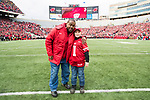 Wisconsin Badgers Honorary Captain Ron Dayne, left, with junior captain prior to an NCAA College Big Ten Conference football game against the Iowa Hawkeyes Saturday, November 11, 2017, in Madison, Wis. The Badgers won 38-14. (Photo by David Stluka)