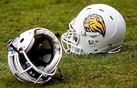 09 MAY 2010 - NORTHAMPTON, GBR -  Birmingham Lions helmets lay on the pitch after their British Universities American Football Championship Final victory over Loughborough Aces (white and gold) (PHOTO (C) NIGEL FARROW)