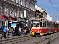 Stra&szlig;enbahn auf der Obchodna, Bratislava, Bratislavsky kraj, Slowakei, Europa<br /> Tram at Obchodna, Bratislava, Bratislavsky kraj, Slowakia, Europe