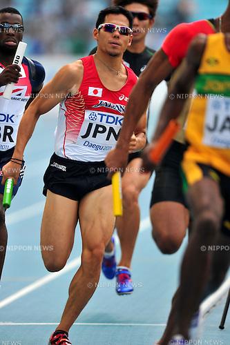 Yuzo Kanemaru (JPN),SEPTEMBER 1, 2011 - Athletics :The 13th IAAF World Championships in Athletics - Daegu 2011, Men's 4x400m Relay Round 1 at the Daegu Stadium, Daegu, South Korea. (Photo by Jun Tsukida/AFLO SPORT) [0003]