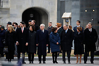Capitol Hill leadership from left, Speaker of the House Paul Ryan and his wife Janna Little, Senate Majority Leader Mitch McConnell and his wife Sec. of Transportation Elaine Chao, Senate Minority Leader Chuck Schumer and his wife Iris Weinshall and House Minority Leader Nancy Pelosi and her husband Frank Pelosi, stand just prior to the flag-draped casket of former President George H.W. Bush being carried out of the Capitol by a joint services military honor guard from the U.S. Capitol, Wednesday, Dec. 5, 2018, in Washington. <br /> CAP/MPI/RS<br /> &copy;RS/MPI/Capital Pictures