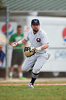 Western Connecticut Colonials third baseman Joe Daigle (2) throws to first base during the second game of a doubleheader against the Edgewood College Eagles on March 13, 2017 at the Lee County Player Development Complex in Fort Myers, Florida.  Edgewood defeated Western Connecticut 3-1.  (Mike Janes/Four Seam Images)