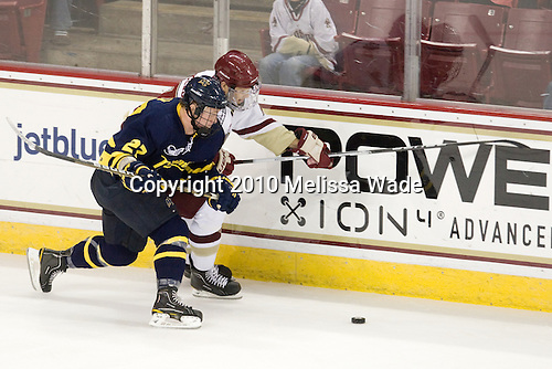 Brendan Ellis (Merrimack - 22), Isaac MacLeod (BC - 7) - The Merrimack College Warriors visited the Boston College Eagles on Friday, October 29, 2010, at Conte Forum in Chestnut Hill, MA.