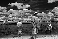 An infrared photo of beach goers at Chris Greene Lake in Albemarle County, Va.   Photo/Andrew Shurtleff Photography, LLC