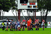 A scrum sets as the clock winds down during the Mitre 10 Heartland Championship rugby union match between Horowhenua Kapiti and Wanganui at Levin Domain in Levin, New Zealand on Saturday, 7 October 2017. Photo: Dave Lintott / lintottphoto.co.nz