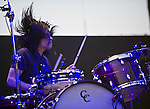 Silversun Pickups drummer Christoper Guanlao performs with the band during the 2012 KROQ Weenie Roast y Fiesta at Verizon Wireless Amphitheater.