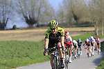 The peloton including Chris Juul Jensen (IRL/DEN) Mitchelton-Scott descend off Paterberg during the 2019 E3 Harelbeke Binck Bank Classic 2019 running 203.9km from Harelbeke to Harelbeke, Belgium. 29th March 2019.<br /> Picture: Eoin Clarke | Cyclefile<br /> <br /> All photos usage must carry mandatory copyright credit (© Cyclefile | Eoin Clarke)