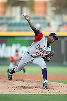 Gwinnett Braves starting pitcher Tyrell Jenkins (59) in action against the Charlotte Knights at BB&T BallPark on August 11, 2015 in Charlotte, North Carolina.  The Knights defeated the Braves 3-2.  (Brian Westerholt/Four Seam Images)