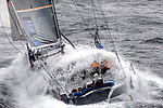 The Open 60 Safran in preparation for the Transat Jacques Vabre 2011, skipper Marc Guillemot co/skipper Yann EliÈs, Brittany, France.