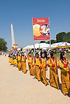 Washington DC; USA: Bhutanese people on the Mall as part of the Smithsonian's annual Folklife Festival in 2008.  Religious group marching with Washington Monument in background.  .Photo copyright Lee Foster Photo # 18-washdc82390