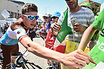 Oliver Naesen (BEL) AG2R La Mondiale with fans at sign on before the start of Stage 11 of the 2018 Tour de France running 108.5km from Albertville to La Rosiere Espace San Bernardo, France. 18th July 2018. <br /> Picture: ASO/Pauline Ballet | Cyclefile<br /> All photos usage must carry mandatory copyright credit (&copy; Cyclefile | ASO/Pauline Ballet)