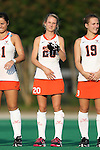 19 September 2014: Virginia's Becca Zamojcin. The Duke University Blue Devils hosted the University of Virginia Cavaliers at Jack Katz Stadium in Durham, North Carolina in a 2014 NCAA Division I Field Hockey match. Virginia won the game 2-1.