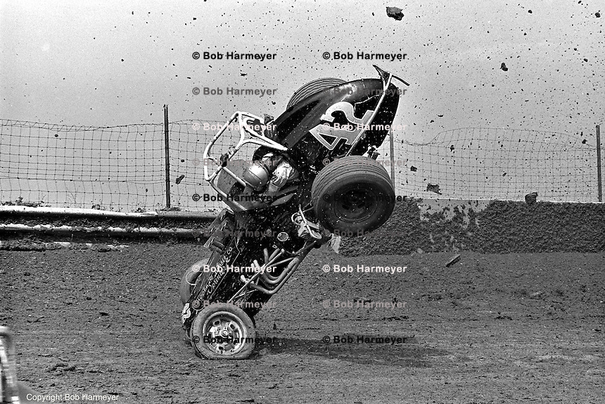 Frame #5 of Gary Bettenhausen's crash during a 1977 USAC race at Eldora Speedway near Rossburg, Ohio.