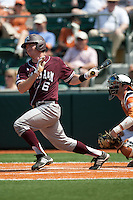 Texas A&M Aggies catcher Troy Stein #6 swings during the NCAA baseball game against the Texas Longhorns on April 28, 2012 at UFCU Disch-Falk Field in Austin, Texas. The Aggies beat the Longhorns 12-4. (Andrew Woolley / Four Seam Images).