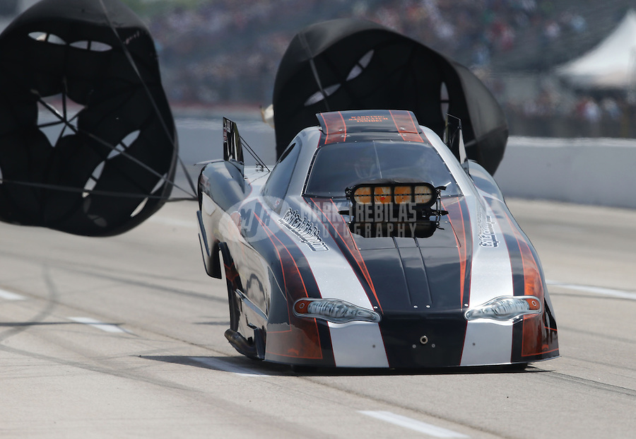 Apr. 26, 2013; Baytown, TX, USA: NHRA top alcohol funny car driver Terry Ruckman during qualifying for the Spring Nationals at Royal Purple Raceway. Mandatory Credit: Mark J. Rebilas-