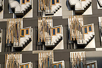 Windows (housing contemplation seats) of the Members' offices at the new Scottish Parliament building at Holyrood, Edinburgh.  Designed by Spanish architect, Enric Miralles.