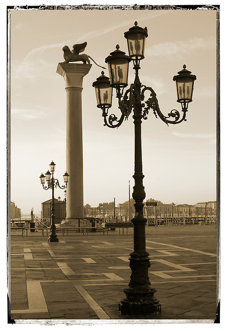 Sunrise at Saint Marks's Square with Lion Pillar - Venice - Italy