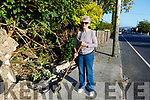 Judy O'Connor cleaning up the debris following damage to the wall from a car accident on the Caherslea Road (R551) on Tuesday evening.