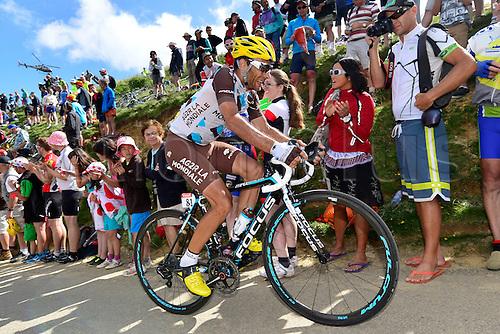 22.07.2014. Carcassonne to Bagnères-de-Luchon, France. Tour de France cycling championship, stage 16.   PERAUD Jean-Christophe (FRA - AG2R La Mondiale) ascends the Port de Bales