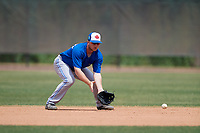 Toronto Blue Jays Brandon Grudzielanek (25) during warmups before a Minor League Spring Training game against the Philadelphia Phillies on March 30, 2018 at Carpenter Complex in Clearwater, Florida.  (Mike Janes/Four Seam Images)