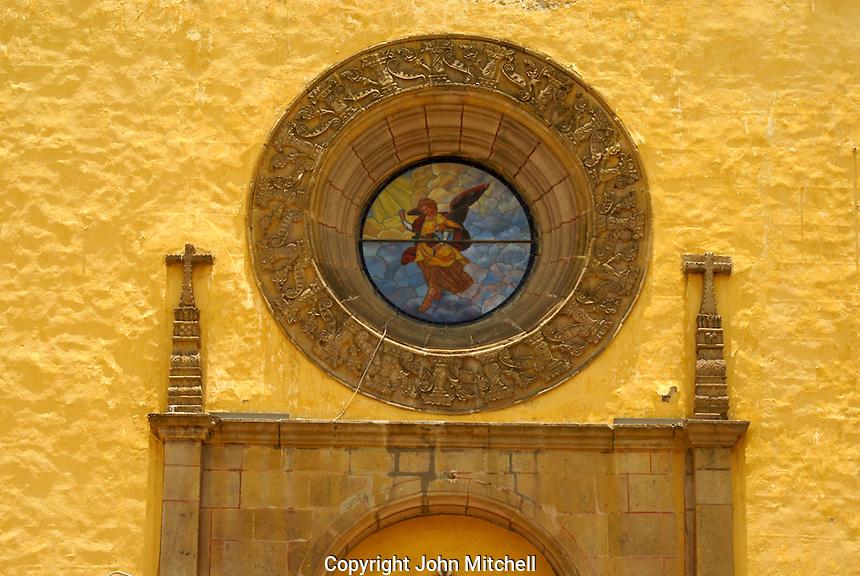 Entrance to the Templo de San Gabrial in the Ex-Convento de San Gabriel, Cholula, Puebla, Mexico. Cholula is a UNESCO World Heritage Site.
