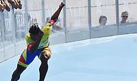 BARCELONA - ESPAÑA,  07-07-2019: Edwin Estrada, patinador de Colombia, Medalla de Oro, durante la prueba de 200 Metros Meta Contra Meta, Mayores Varones, en el patinodromo Front Maritim en la ciudad de Barcelona en España, en el marco de los World Roller Games, Barcelona 2019. /  Edwin Estrada, skater from Colombia, Gold Medal, during the 200 Dual TT, Senior Men, in the Front Maritim skate in the city of Barcelona in Spain, within the World Rollers Games Barcelona 2019. / Photo: VizzorImage / Luis Ramírez / Staff.