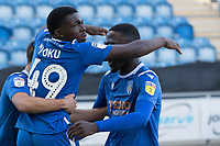 Kwame Poku of Colchester United celebrates his goal during Colchester United vs Stevenage, Sky Bet EFL League 2 Football at the JobServe Community Stadium on 5th October 2019