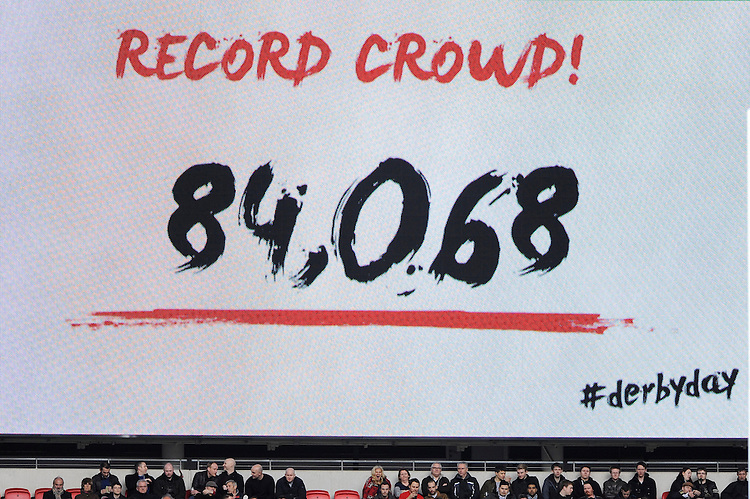 84,068 - a new world record for the number of people at a club rugby match is set at Wembley Stadium for the match between Saracens and Harlequins