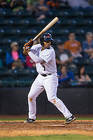 Andy Ibanez (7) of the Hickory Crawdads at bat against the Rome Braves at L.P. Frans Stadium on May 12, 2016 in Hickory, North Carolina.  The Braves defeated the Crawdads 3-0.  (Brian Westerholt/Four Seam Images)