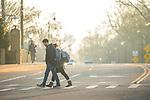 Crosswalking.  Photo by Kevin Bain/University Communications Photography