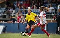 Victoria Wotton of Watford Ladies plays a pass past Rosy Wodhams of Stevenage Ladies during the pre season friendly match between Stevenage Ladies FC and Watford Ladies at The County Ground, Letchworth Garden City, England on 16 July 2017. Photo by Andy Rowland / PRiME Media Images.