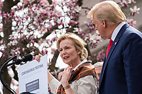 White House coronavirus response coordinator Dr. Deborah Birx, left, speaks during a news conference with United States President Donald J. Trump, United States Vice President Mike Pence, members of the Coronavirus Task Force, and Industry Executives, in the Rose Garden of the White House in Washington D.C., U.S., on Friday, March 13, 2020.  Trump announced that he will be declaring a national emergency in response to the Coronavirus.  Credit: Stefani Reynolds / CNP/AdMedia