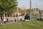 Tram with Zubizuri Bridge by Calatrava, Bilbao, Basque Country, Spain