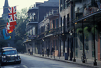 French Quarter, New Orleans, Louisiana, LA, Ornate buildings with balconies along the street in the French Quarter in New Orleans.