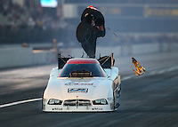 Feb 13, 2016; Pomona, CA, USA; NHRA funny car driver Jim Campbell during the Winternationals at Auto Club Raceway at Pomona. Mandatory Credit: Mark J. Rebilas-USA TODAY Sports