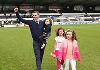 St Mirren Manager Jack Ross with his daughters, celebrates after winning the Scottish Professional Football League Ladbrokes Championship at the Paisley 2021 Stadium, Paisley on 14.4.18.