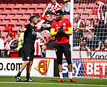 Darren Ward Sheffield Utd goal keeper coach with Jamal Blackman of Sheffield Utd during the English Championship League match at Bramall Lane Stadium, Sheffield. Picture date: August 5th 2017. Pic credit should read: Simon Bellis/Sportimage
