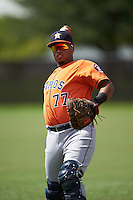 Houston Astros Kevin Martir (77) warms up before an instructional league game against the Atlanta Braves on October 1, 2015 at the Osceola County Complex in Kissimmee, Florida.  (Mike Janes/Four Seam Images)